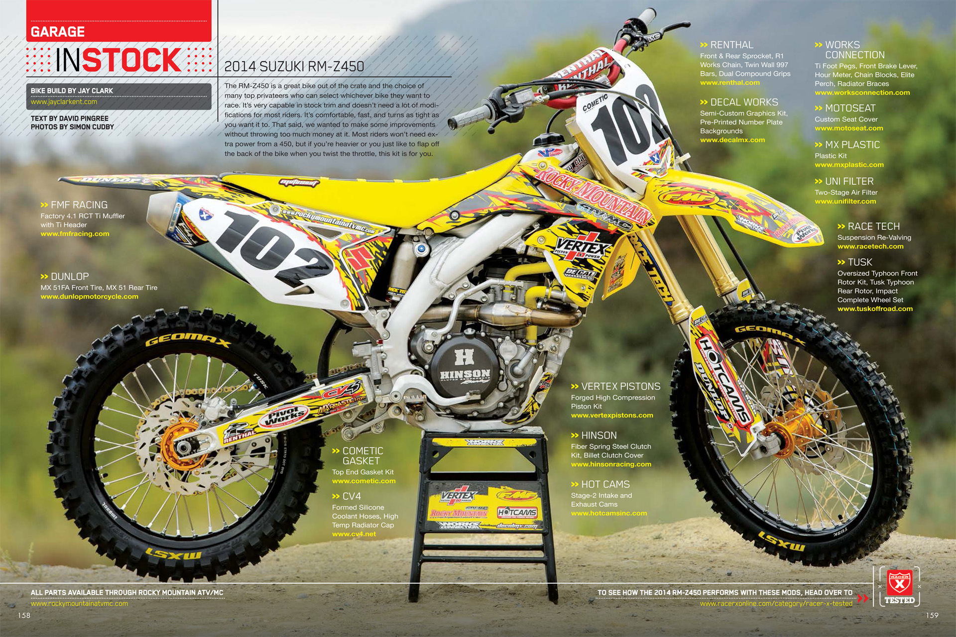 project rmz450 january issue of racer x jay clark enterprises