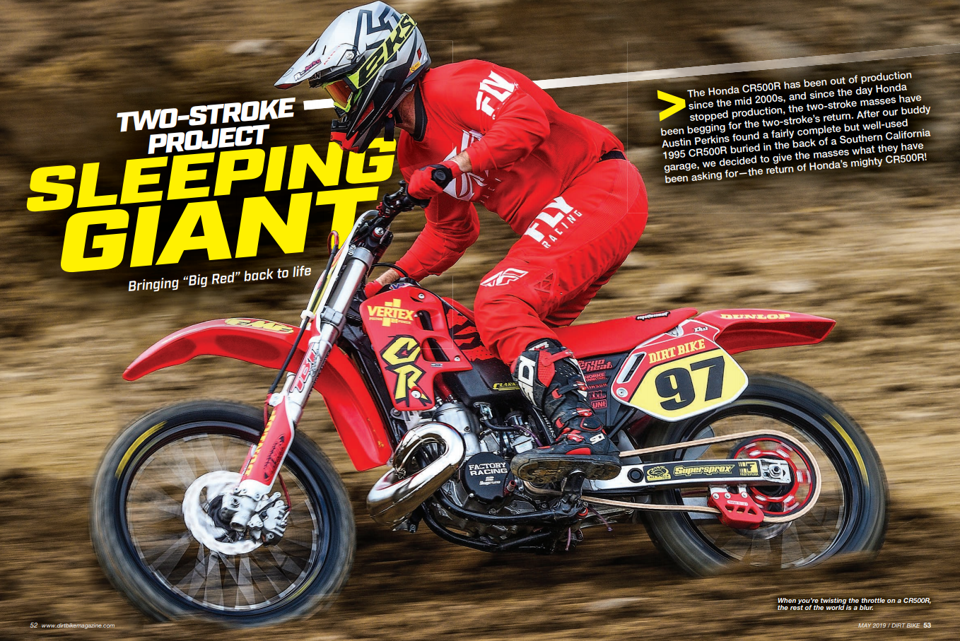 Here is our CR500 build in the new May issue of Dirt Bike magazine.